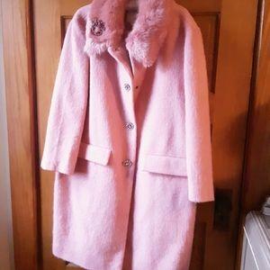 Kate Spade Pink Wool Swing Coat